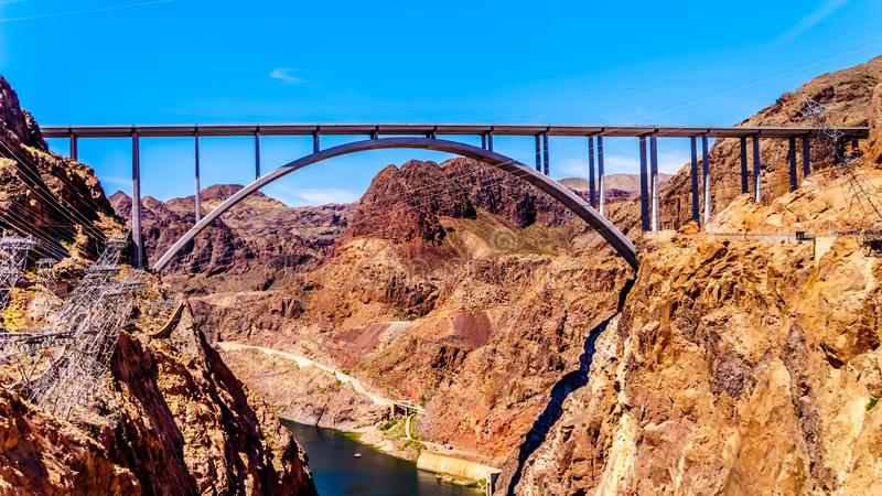 The Mike O`Callaghan–Pat Tillman Memorial Bridge that crosses the Colorado river just downstream of the Hoover Dam. And connecting the states stock photos