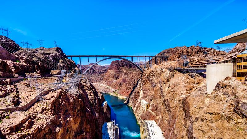 The Mike O`Callaghan–Pat Tillman Memorial Bridge that crosses the Colorado river just downstream of the Hoover Dam. And connecting the states royalty free stock photography