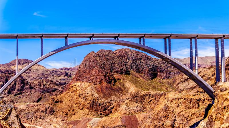 The Mike O`Callaghan–Pat Tillman Memorial Bridge that crosses the Colorado river just downstream of the Hoover Dam. And connecting the states stock images