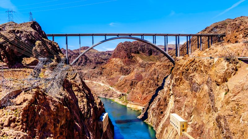 The Mike O`Callaghan–Pat Tillman Memorial Bridge that crosses the Colorado river just downstream of the Hoover Dam. And connecting the states royalty free stock image