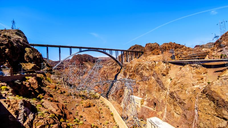 The Mike O`Callaghan–Pat Tillman Memorial Bridge that crosses the Colorado river just downstream of the Hoover Dam. And connecting the states of Nevada royalty free stock photos