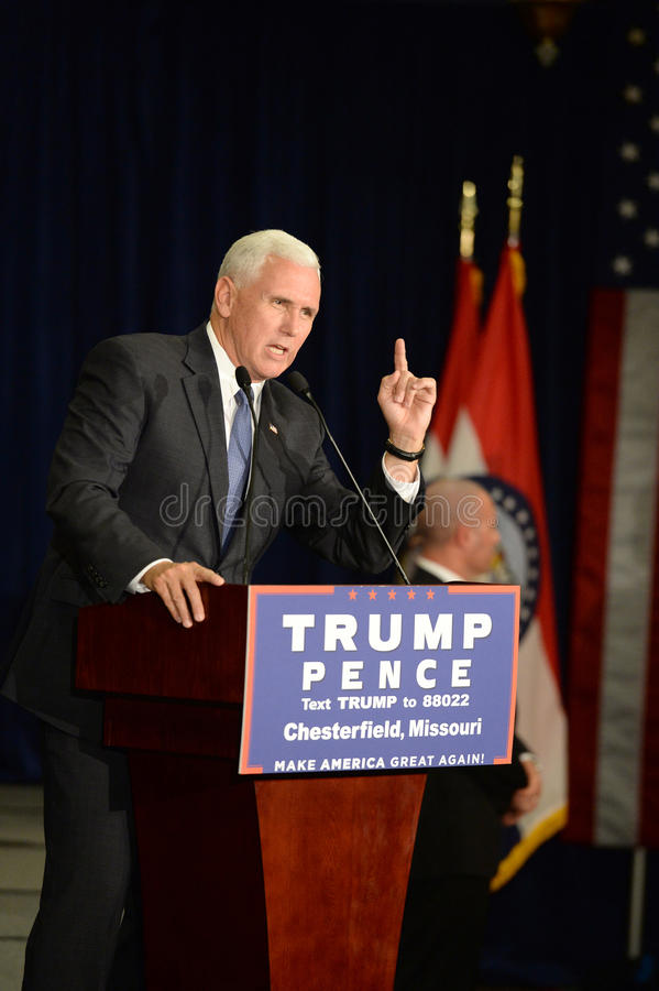 Mike Pence Rally for Trump. Chesterfield, MO, USA – September 06, 2016: Republican vice presidential candidate, Indiana Governor Mike Pence speaks to royalty free stock photo