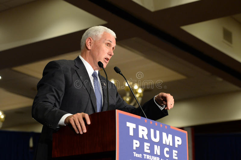Mike Pence Rally for Trump. Chesterfield, MO, USA – September 06, 2016: Republican vice presidential candidate, Indiana Governor Mike Pence speaks to stock photos