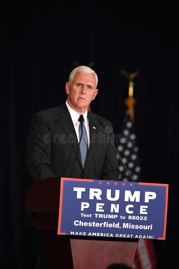 Mike Pence Rally for Trump. Chesterfield, MO, USA – September 06, 2016: Republican vice presidential candidate, Indiana Governor Mike Pence speaks to stock images