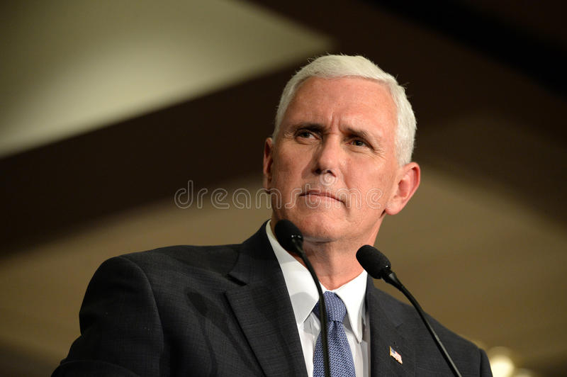Mike Pence Rally voor Troef stock fotografie