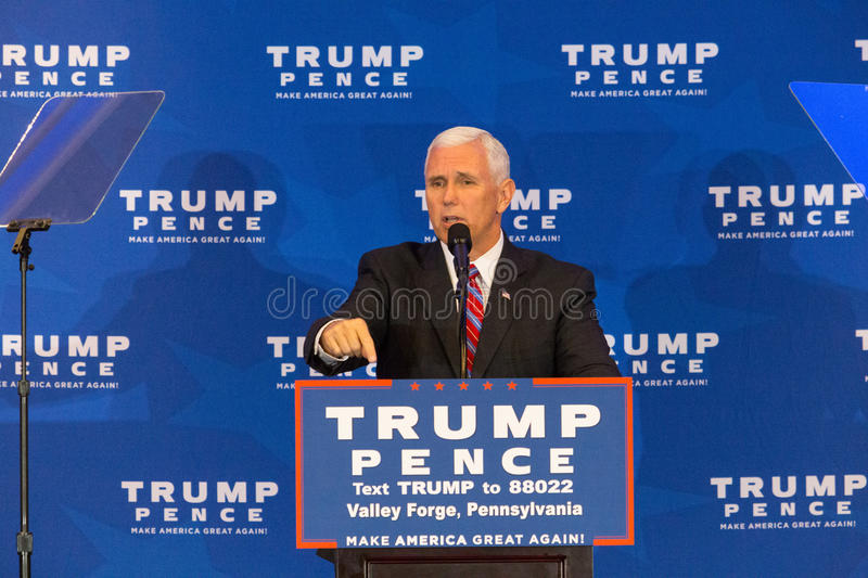 Mike Pence in Valley Forge. King of Prussia, PA - November 1, 2016: Mike Pence, the Republican candidate for Vice President, vows to repeal and replace Obamacare royalty free stock photo