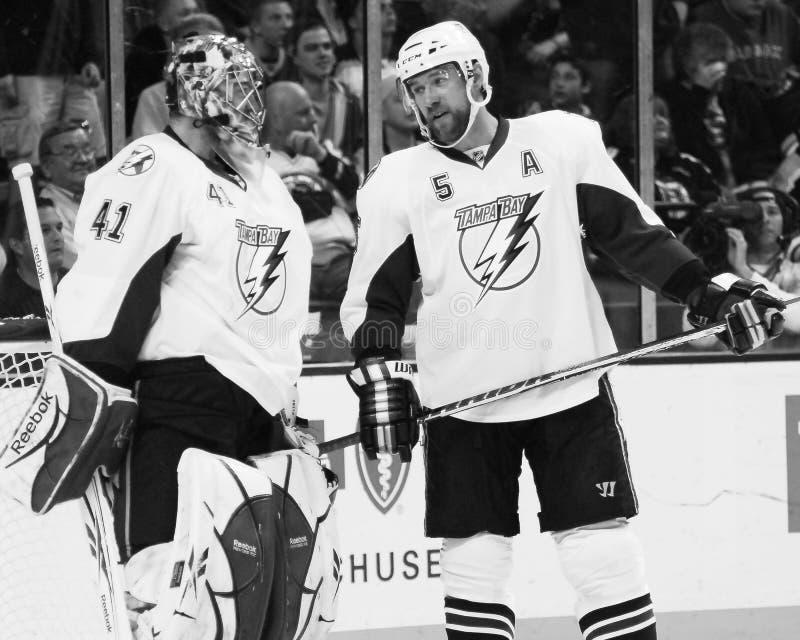Mike Smith and Mattias Ohlund. Tampa Bay Lightning teammates goalie Mike Smith and defenseman Mattias Ohlund stock images