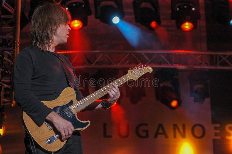 Mike Stern of Steps Ahead playing at Estival Jazz Lugano. Lugano, Switzerland: 8 July 2005: Mike Stern of Steps Ahead playing at Estival Jazz in Lugano royalty free stock images