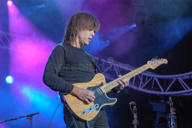 Mike Stern of Steps Ahead playing at Estival Jazz Lugano. Lugano, Switzerland: 8 July 2005: Mike Stern of Steps Ahead playing at Estival Jazz in Lugano stock photo
