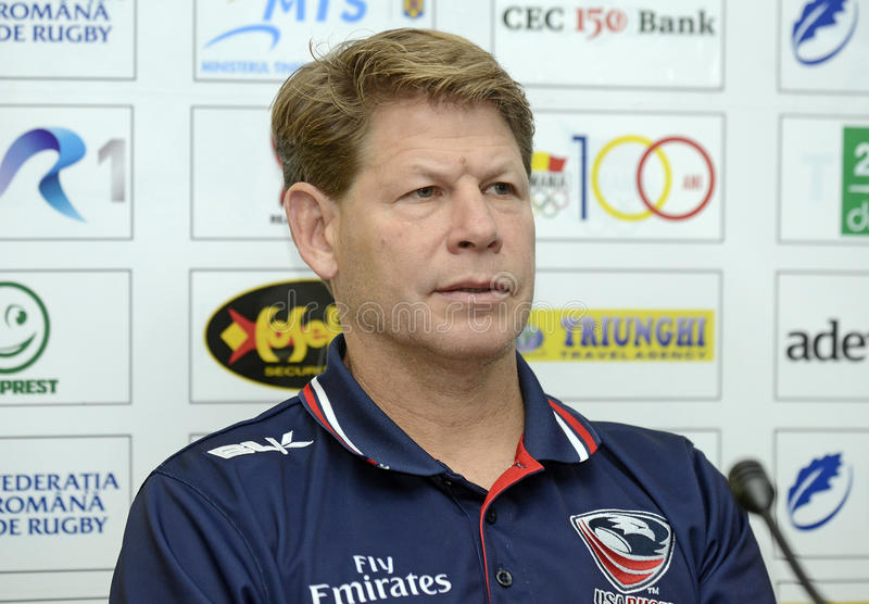 Mike Tolkin. USA's head coach Mike Tolkin pictured during the press conference held before the friendly rugby game between Romania and USA royalty free stock photography