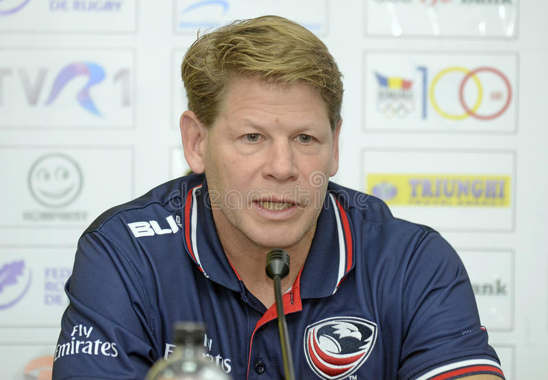 Mike Tolkin. USAs head coach Mike Tolkin pictured during the press conference held before the friendly rugby game between Romania and USA royalty free stock images
