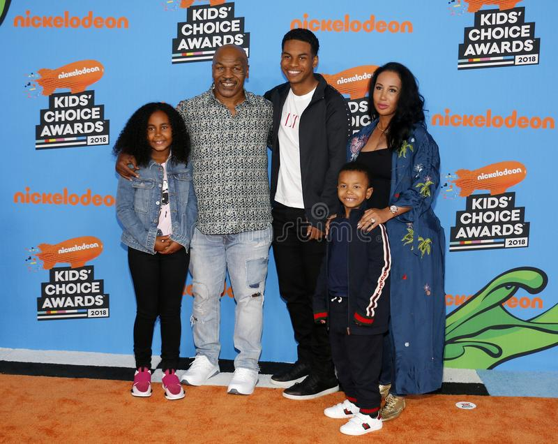 Mike Tyson, Lakiha Spicer, Milan Tyson, Miguel Leon Tyson and Morocco Tyson. At the Nickelodeon`s 2018 Kids` Choice Awards held at the Forum in Inglewood, USA stock images