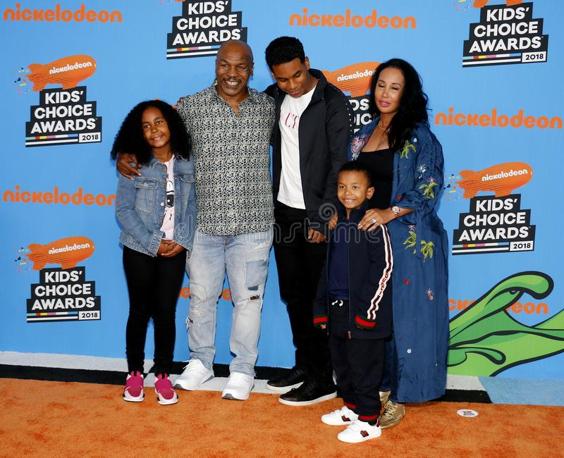 Mike Tyson, Lakiha Spicer, Milan Tyson, Miguel Leon Tyson and Morocco Tyson. At the Nickelodeon`s 2018 Kids` Choice Awards held at the Forum in Inglewood, USA royalty free stock images