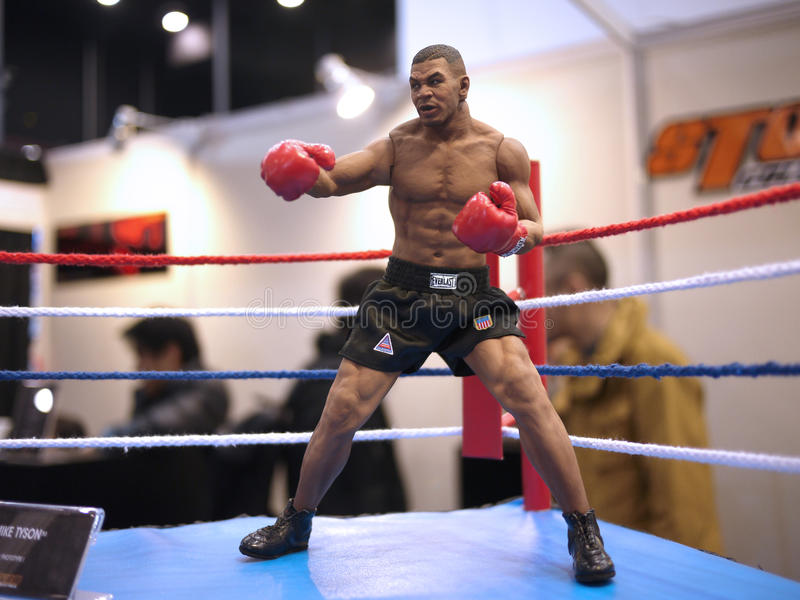 Mike Tyson in TOY SOUL 2014. 1:6 scale Mike Tyson figure in TOY SOUL 2014 in Hong Kong royalty free stock images