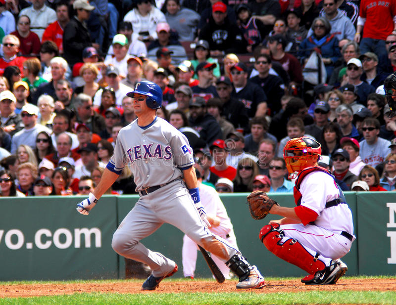 Mike Young Texas Rangers. Texas Rangers 3b-DH Mike Young leaves the batters box after hitting a Tim Wakefield Knuckleball off the Green Monster at Fenway Park stock images