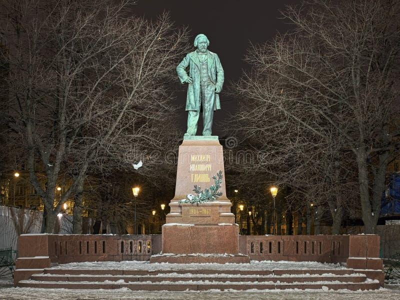 Mikhail Glinka Monument i Sankt Petersburg, Ryssland royaltyfri fotografi