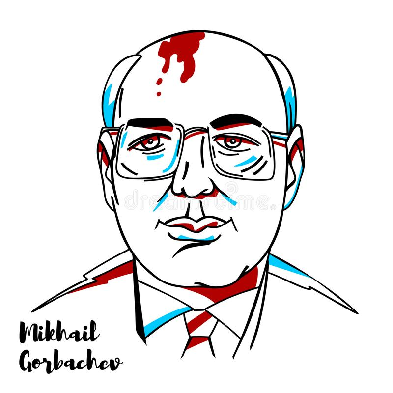 Mikhail Gorbachev Portrait illustration stock