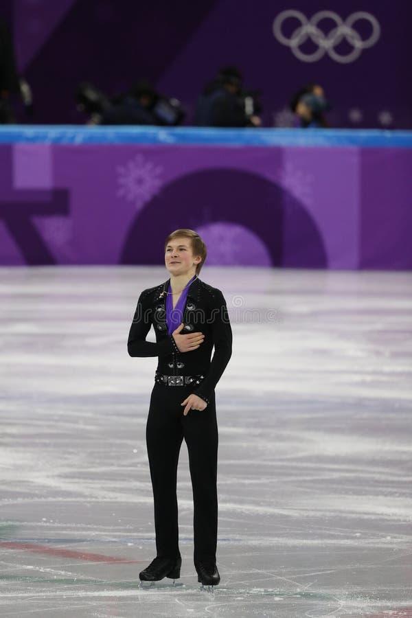 Mikhail Kolyada van Olympische Atleet van Rusland voert in Team Event Men Single Skating het Vrije Schaatsen bij het Olympische S royalty-vrije stock foto