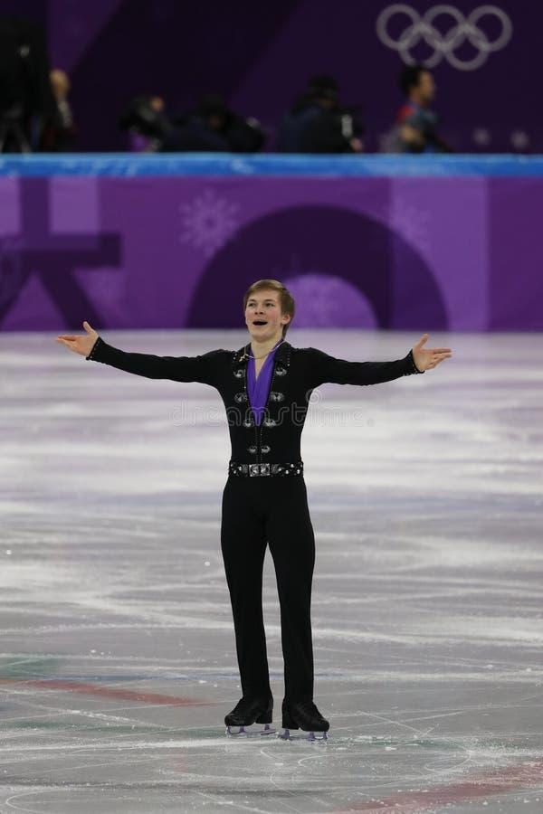 Mikhail Kolyada van Olympische Atleet van Rusland voert in Team Event Men Single Skating het Vrije Schaatsen bij het Olympische S royalty-vrije stock foto's