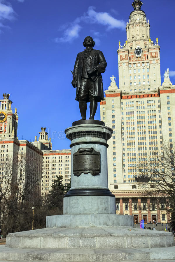 The Mikhail Lomonosov monument in front of the main building of Moscow state University. Moscow. Mikhail Lomonosov & x28;1711-1765& x29; is the first Russian stock image