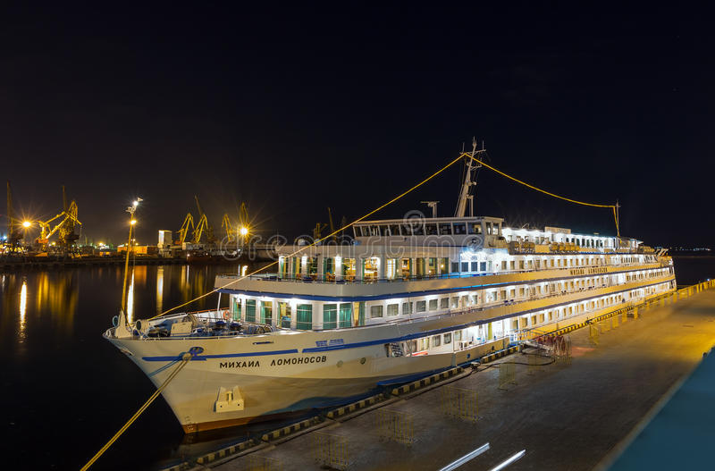 MIKHAIL LOMONOSOV. ODESSA, Ukraine - August 18: Cruise ship MIKHAIL LOMONOSOV came into the port of Odessa, Ukraine on August 18, 2013. Odessa is the biggest stock photography