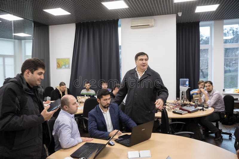 Mikhail Saakashvili on briefing for press. KIEV, UKRAINE - Nov 27, 2016: Briefing for the press after the meeting organized by the politician Mikhail Saakashvili stock photography