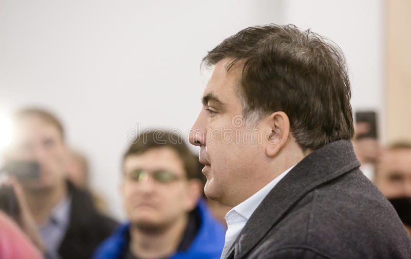 Mikhail Saakashvili on briefing for press. KIEV, UKRAINE - Nov 27, 2016: Briefing for the press after the meeting organized by the politician Mikhail Saakashvili stock photos