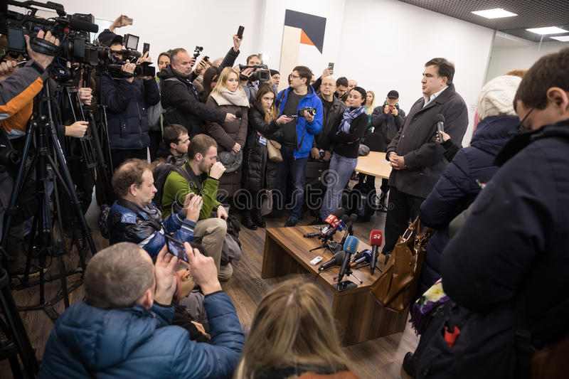 Mikhail Saakashvili on briefing for press. KIEV, UKRAINE - Nov 27, 2016: Briefing for the press after the meeting organized by the politician Mikhail Saakashvili royalty free stock images