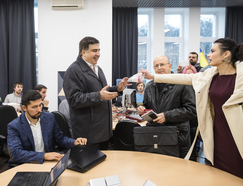 Mikhail Saakashvili on briefing for press. KIEV, UKRAINE - Nov 27, 2016: Briefing for the press after the meeting organized by the politician Mikhail Saakashvili royalty free stock photos