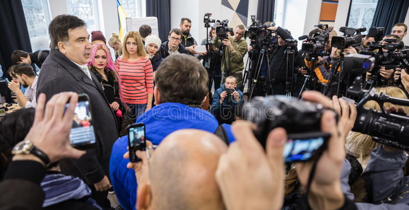 Mikhail Saakashvili on briefing for press. KIEV, UKRAINE - Nov 27, 2016: Briefing for the press after the meeting organized by the politician Mikhail Saakashvili stock photo