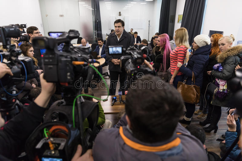 Mikhail Saakashvili on briefing for press. KIEV, UKRAINE - Nov 27, 2016: Briefing for the press after the meeting organized by the politician Mikhail Saakashvili royalty free stock photo