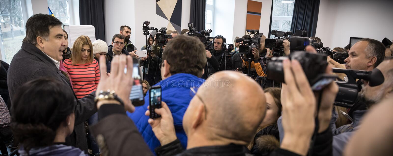 Mikhail Saakashvili on briefing for press. KIEV, UKRAINE - Nov 27, 2016: Briefing for the press after the meeting organized by the politician Mikhail Saakashvili stock images