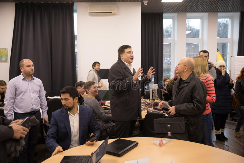 Mikhail Saakashvili on briefing for press. KIEV, UKRAINE - Nov 27, 2016: Briefing for the press after the meeting organized by the politician Mikhail Saakashvili stock image