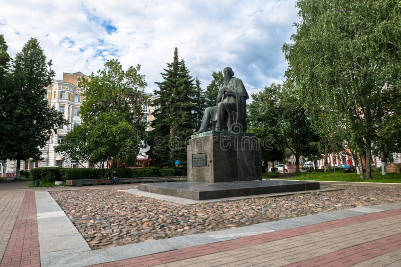 The monument to the major Russian satirist of the 19th century Saltykov-Shchedrin in the city of Tver, Russia. Mikhail Saltykov-Shchedrin born Saltykov stock images