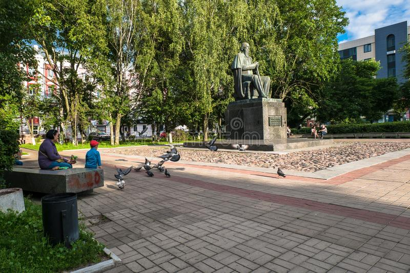 The monument to the major Russian satirist of the 19th century Saltykov-Shchedrin in the city of Tver, Russia. stock photos