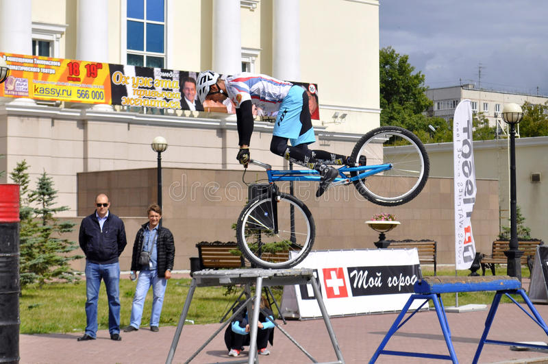 Mikhail Sukhanov performance, champions of Russia on a cycle tr. Ial. City Day of Tyumen on July 26, 2014 stock photo