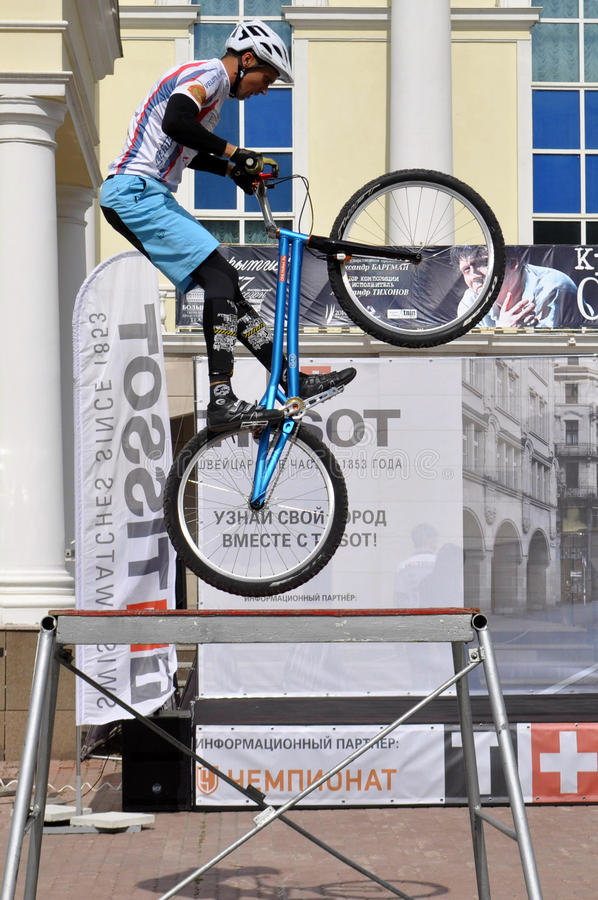 Mikhail Sukhanov performance, champions of Russia on a cycle tr. Ial. City Day of Tyumen on July 26, 2014 royalty free stock images