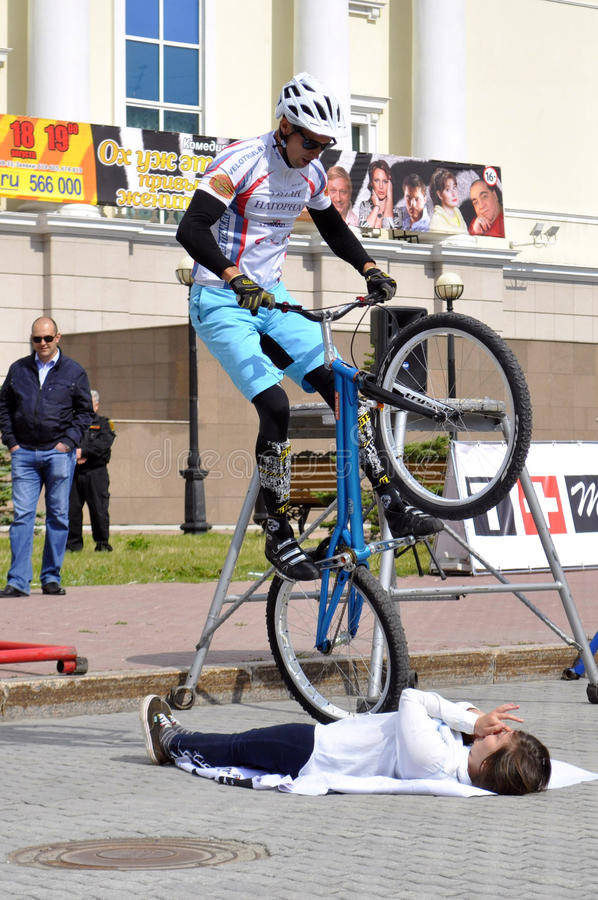 Mikhail Sukhanov performance, champions of Russia on a cycle tr. Ial. City Day of Tyumen on July 26, 2014 royalty free stock photo