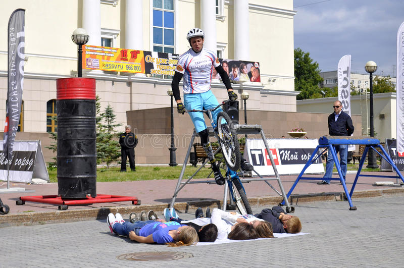 Mikhail Sukhanov performance, champions of Russia on a cycle tr. Ial. City Day of Tyumen on July 26, 2014 stock photography