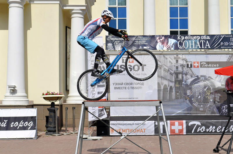 Mikhail Sukhanov performance, champions of Russia on a cycle trial. City Day of Tyumen on July 26, 2014. Mikhail Sukhanov performance, champions of Russia on a stock photography