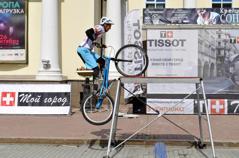 Mikhail Sukhanov performance, champions of Russia on a cycle trial. City Day of Tyumen on July 26, 2014. Mikhail Sukhanov performance, champions of Russia on a royalty free stock photos