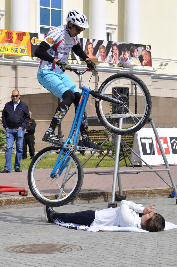 Mikhail Sukhanov performance, champions of Russia on a cycle trial. City Day of Tyumen on July 26, 2014. Mikhail Sukhanov performance, champions of Russia on a stock photos