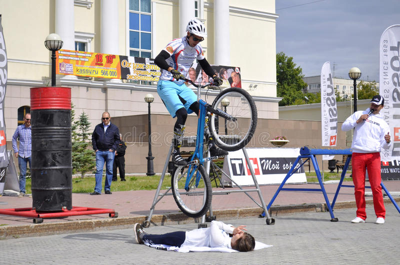 Mikhail Sukhanov performance, champions of Russia on a cycle trial. City Day of Tyumen on July 26, 2014. Mikhail Sukhanov performance, champions of Russia on a stock image
