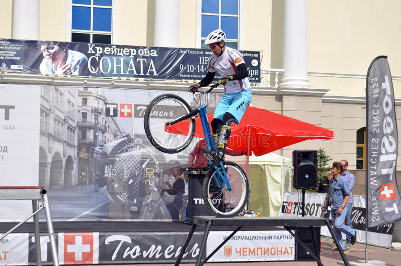 Mikhail Sukhanov performance, champions of Russia on a cycle trial. City Day of Tyumen on July 26, 2014. Mikhail Sukhanov performance, champions of Russia on a stock photo
