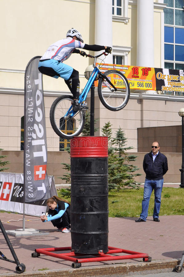 Mikhail Sukhanov performance, champions of Russia on a cycle trial. City Day of Tyumen on July 26, 2014. Mikhail Sukhanov performance, champions of Russia on a royalty free stock photography