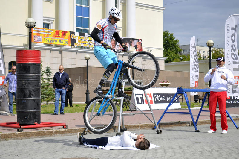 Mikhail Sukhanov performance, champions of Russia on a cycle trial. City Day of Tyumen on July 26, 2014. Mikhail Sukhanov performance, champions of Russia on a royalty free stock photo