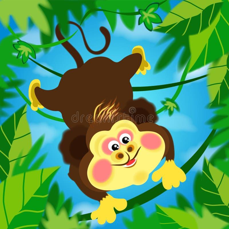Miki apa, apa, sommar, gyckel, entusiasm, tomfoolery mellan vinrankor som flyger i djungeln stock illustrationer