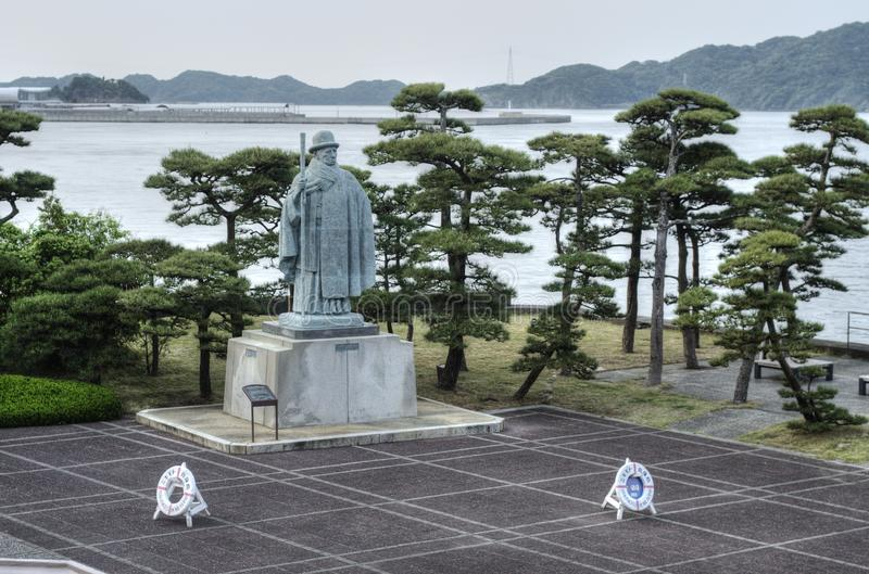 Mikimoto Kokichi statue, Pearl Island, Japan. Statue of Mikimoto Kōkichi - Japanese entrepreneur who is credited with creating the first cultured pearl and stock image
