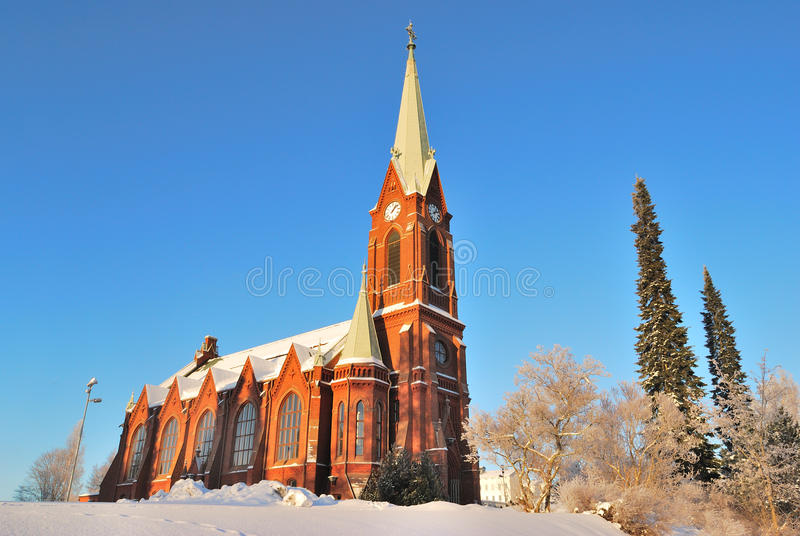 Mikkeli, Finland. Lutheran Cathedral. Before early winter sunset royalty free stock photo
