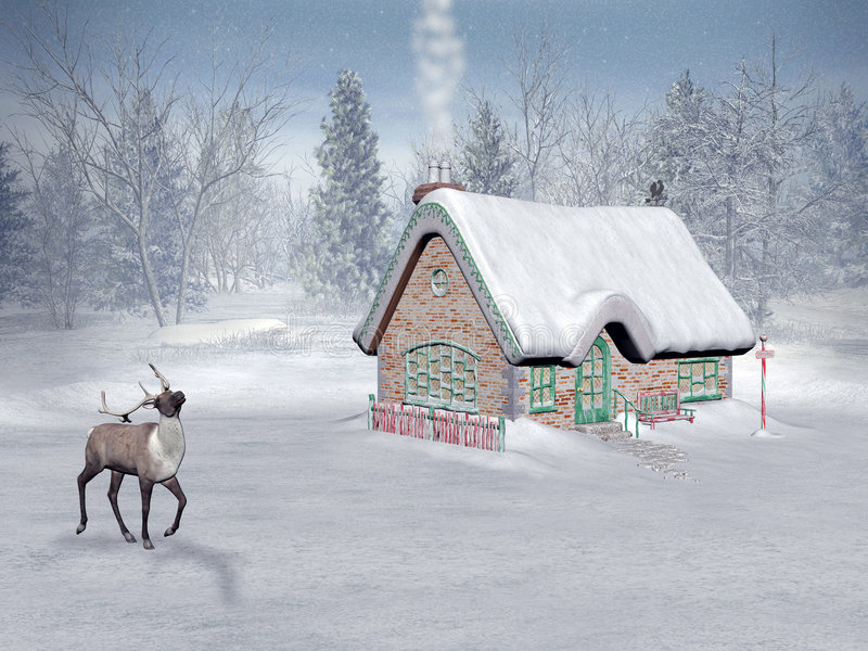 Mikołaj jest w domku czas świąt ilustracji